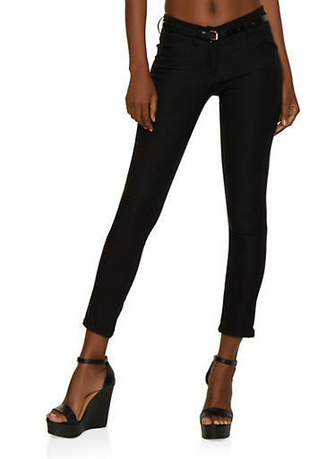 2 Button Belted Fixed Cuff Dress Pants,BLACK,large
