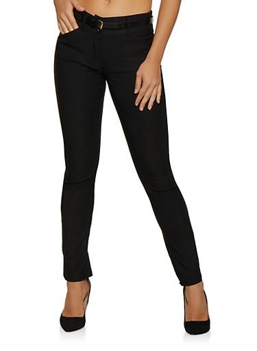 Stretch Belted Dress Pants,BLACK,large