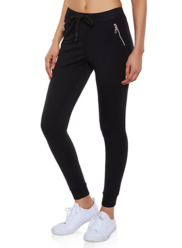 Zip Pocket Joggers,BLACK,large