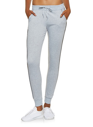 Contrast Trim Joggers,HEATHER,large