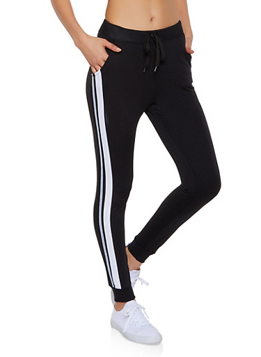 French Terry Lined Side Stripe Joggers,BLACK,large