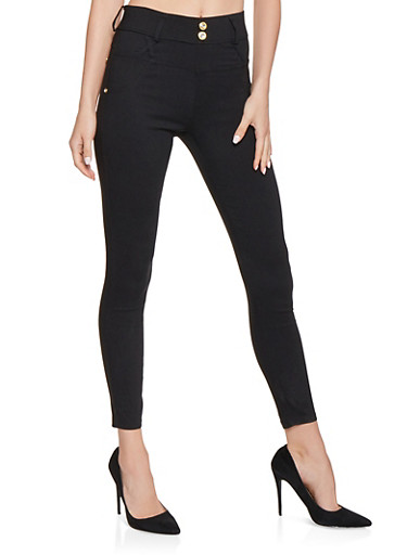 2 Button High Waisted Jeggings,BLACK,large