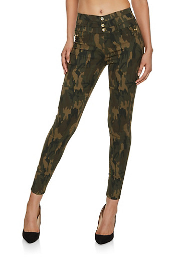 3 Button Hyperstretch Jeggings,GREEN,large