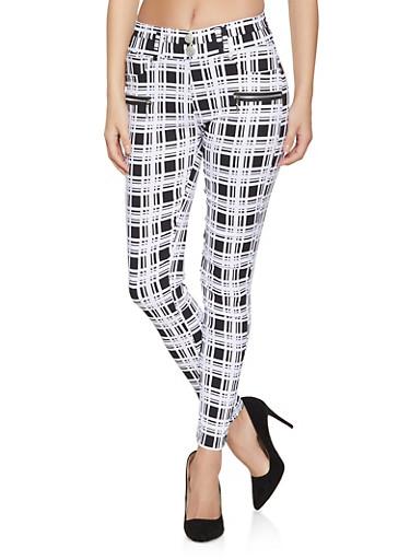 Plaid Zipper Detail Skinny Pants,BLACK/WHITE,large