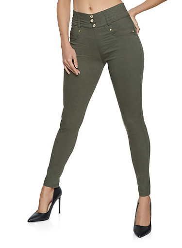Three Button Skinny Pants,OLIVE,large