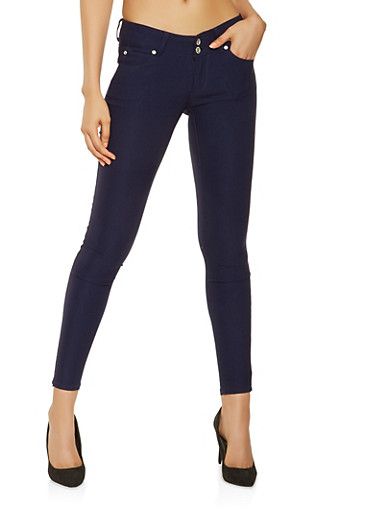 Solid Stretch Jeggings,NAVY,large