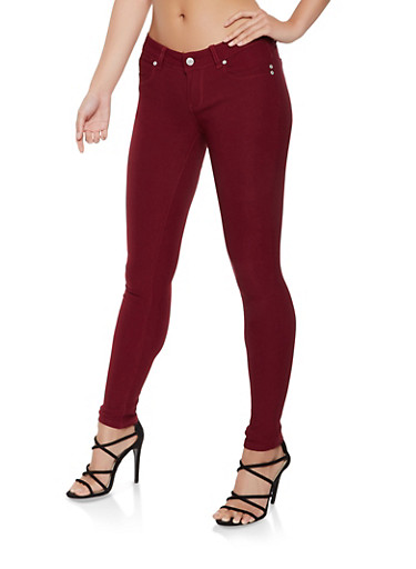 Hyperstretch Push Up Jeggings,BURGUNDY,large