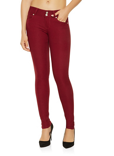 Two Button Hyperstretch Jeggings,WINE,large