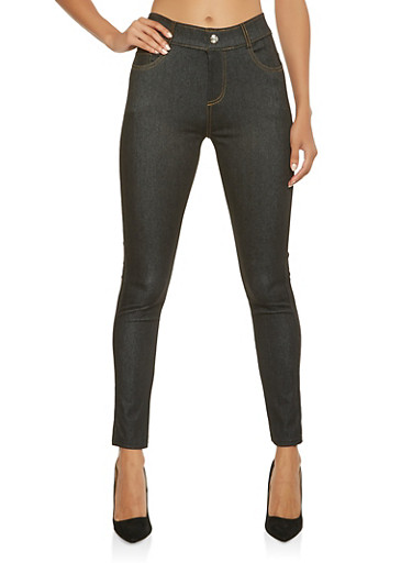Denim Knit Jegging,BLACK,large