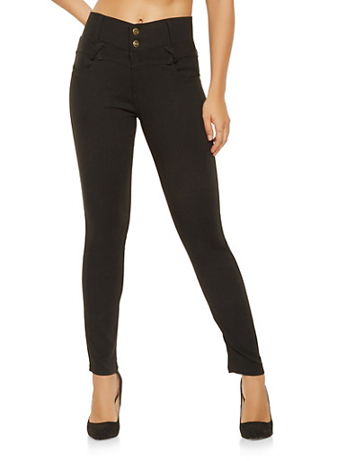 2 Button Stretch Jeggings,BLACK,large