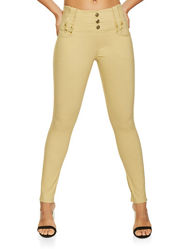 Zipper Detail Jeggings,KHAKI,large