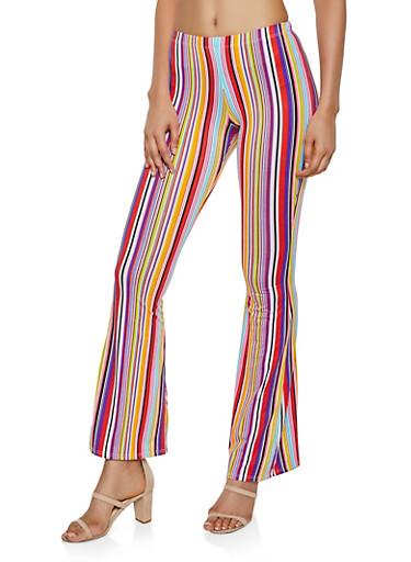 Soft Knit Multi Stripe Flared Pants,PINK,large