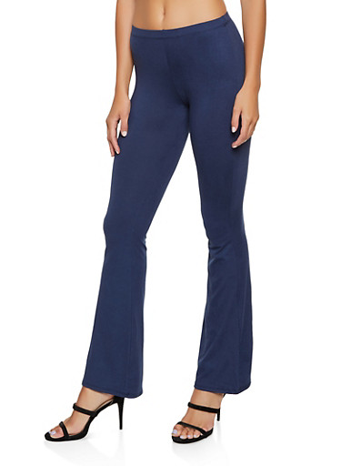 Flared Soft Knit Pants   3061074010024,NAVY,large