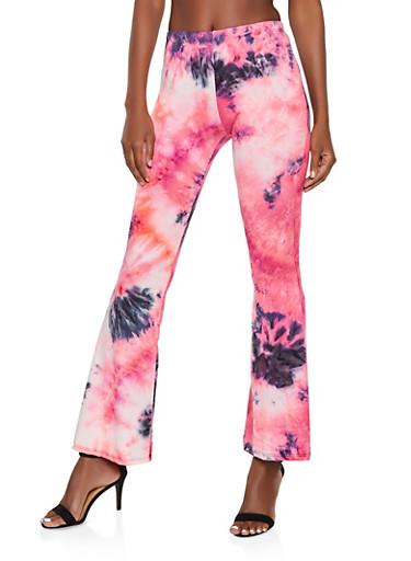 Soft Knit Tie Dye Flared Pants,NEON PINK,large