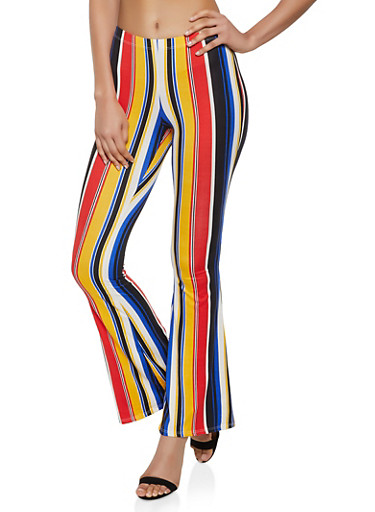 Striped Pull On Flared Pants,RED,large