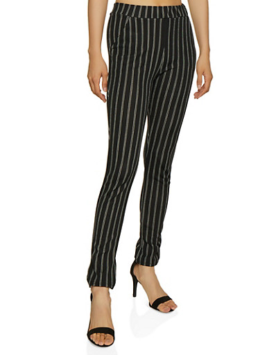 Striped Skinny Dress Pants,BLACK/WHITE,large