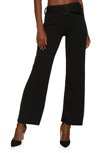 Pinstripe Belted Dress Pants,BLACK,large