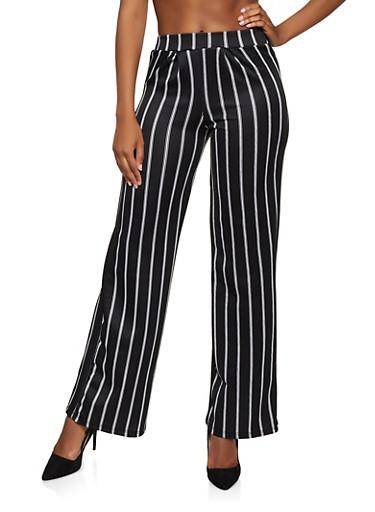 Striped Flared Dress Pants,BLACK/WHITE,large