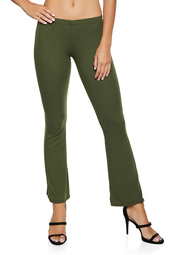 Ribbed Knit Flared Pants,OLIVE,large