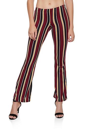 Striped Soft Knit Flared Pants | 3061074010079,BLACK,large