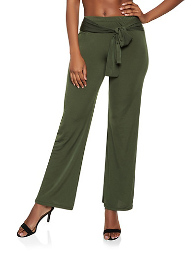 Tie Front Stretch Pants,OLIVE,large