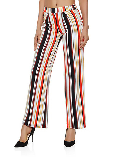 Striped Textured Knit Palazzo Pants | 3061074010087,RUST,large