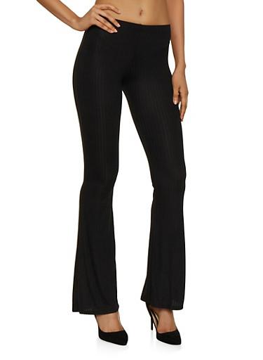 Rib Knit Flared Pull On Pants,BLACK,large