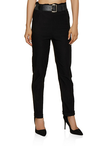 Belted Fixed Cuff Dress Pants,BLACK,large