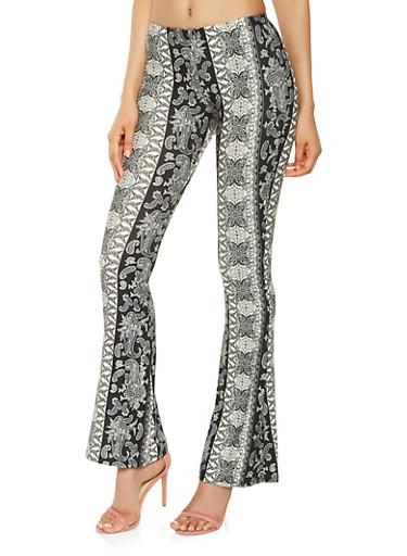 Printed Flared Soft Knit Pants,BLACK/WHITE,large