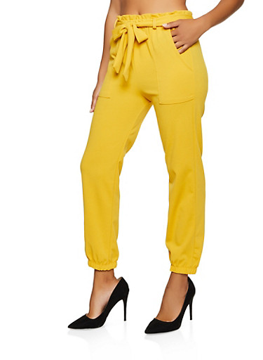 Tie Waist Crepe Knit Tapered Pants,MUSTARD,large