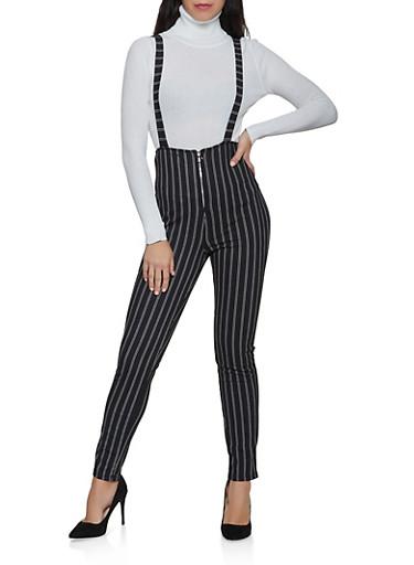 Striped Zip Suspender Pants,BLACK/WHITE,large