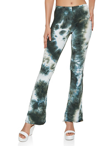 Tie Dye Flared Soft Knit Pants,OLIVE,large