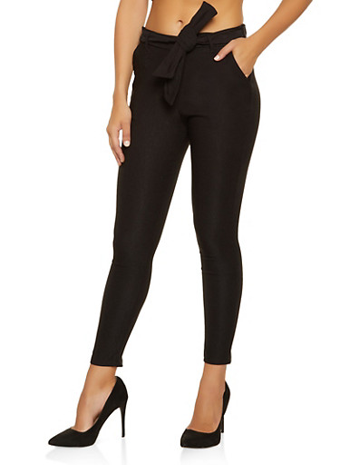 Stretch Tie Front Dress Pants,BLACK,large