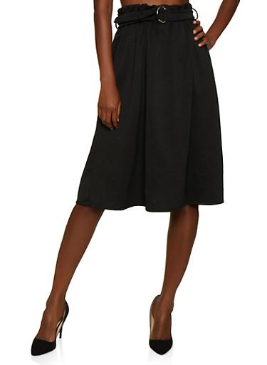 Paper Bag Waist Scuba Skirt,BLACK,large