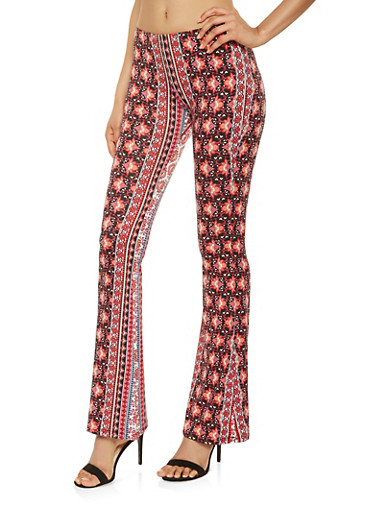 Printed Soft Knit Flared Pants,CORAL,large