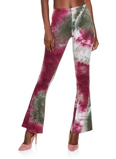 Soft Knit Tie Dye Flared Pants | 3061074015007,OLIVE,large