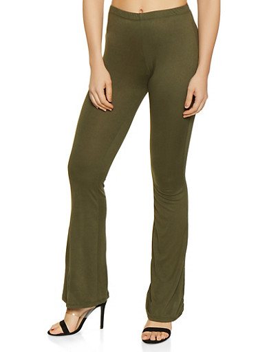 Solid Flared Pants,OLIVE,large