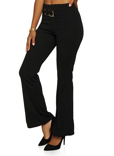 Buckle Detail Flared Dress Pants,BLACK,large