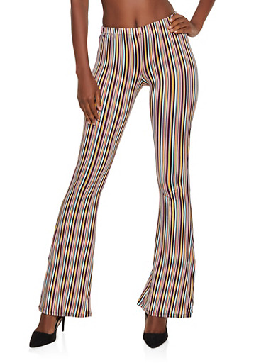 Striped Soft Knit Flared Pants,OLIVE,large