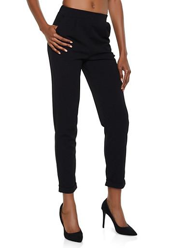 Fixed Cuff Dress Pants,BLACK,large