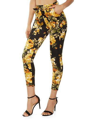 Floral Tie Front Pants,BLACK,large
