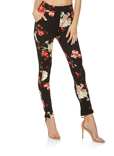Floral Crepe Knit Dress Pants,BLACK,large