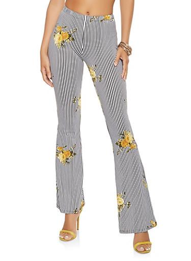 Striped Soft Knit Flared Pants,BLACK/WHITE,large