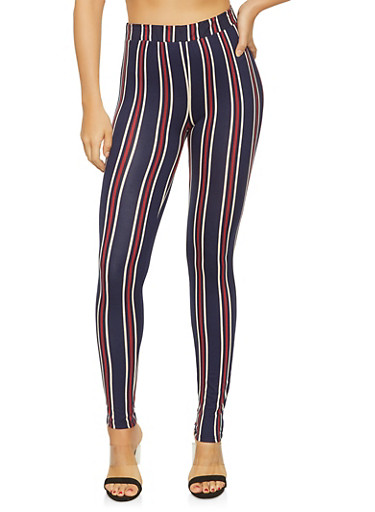 Striped Soft Knit Leggings,NAVY,large