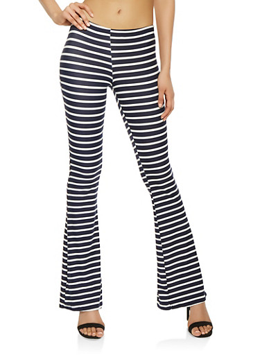 Striped Flared Pants,WHITE/BLUE,large