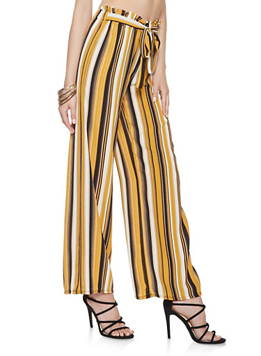 Striped Tie Front Palazzo Pants,BLACK,large