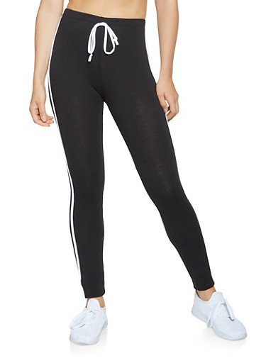 Side Striped Athletic Pants,BLACK,large