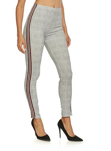 Striped Ribbon Trim Plaid Pants,GRAY,large