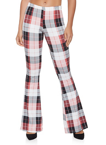 Plaid Soft Knit Flared Pants,BLACK/WHITE,large