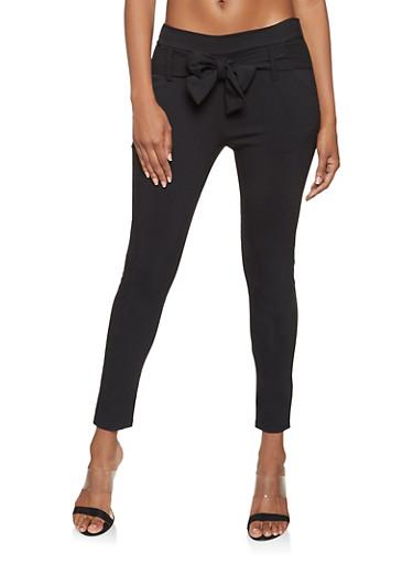 Tie Front Ponte Knit Pants,BLACK,large